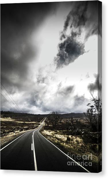 Barren Canvas Print - On A Dark Deserted Highway by Jorgo Photography - Wall Art Gallery