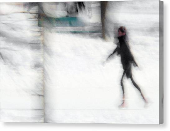 On A Frozen Pond Canvas Print by Denis Bouchard