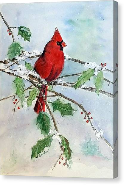 On A Snowy Perch Canvas Print