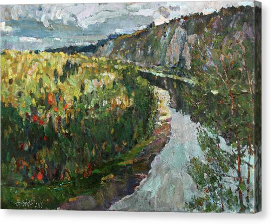 Ural Mountains Canvas Print - On A Stone Giant by Juliya Zhukova