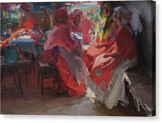 On A Visit Canvas Print by Abram Arkhipov