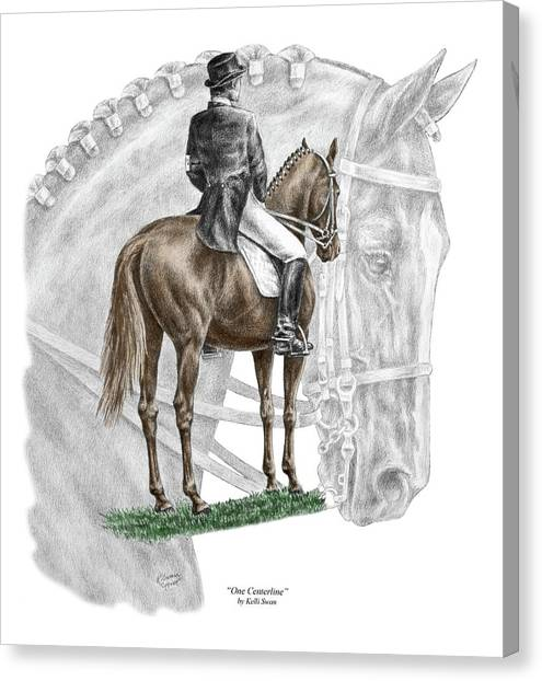 On Centerline - Dressage Horse Print Color Tinted Canvas Print