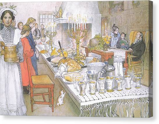 Dinner Table Canvas Print - On Christmas Eve by Carl Larsson