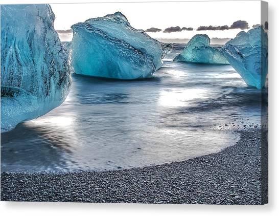 Vatnajokull Glacier Canvas Print - On Diamond Beach by Alisha Anderson