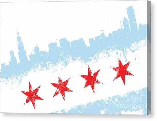 Chicago Flag Lean Canvas Print