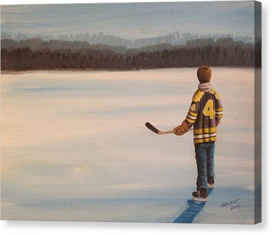 Boston Bruins Canvas Print - On Frozen Pond - Bobby by Ron  Genest