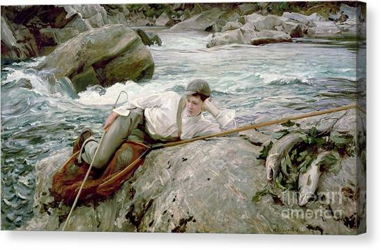 Angling Canvas Print - On His Holidays by John Singer Sargent