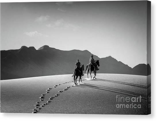 On Horseback At White Sands Canvas Print