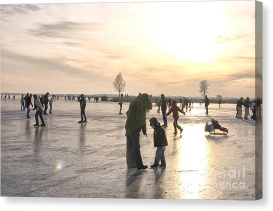 Speed Skating Canvas Print - On Ice by Patricia Hofmeester