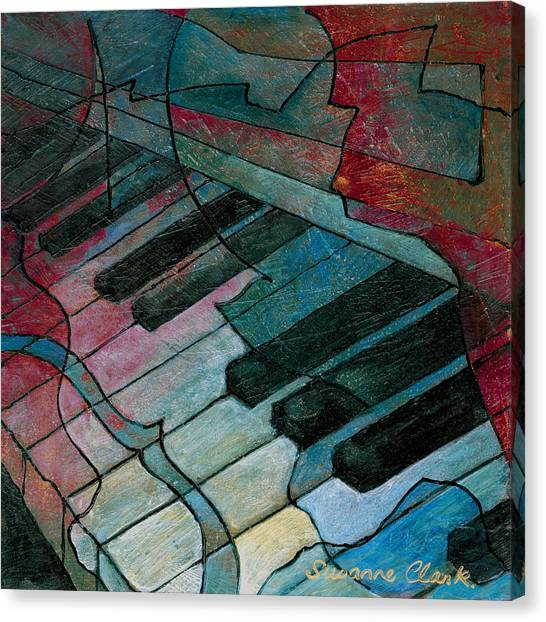 Electronic Instruments Canvas Print - On Key - Keyboard Painting by Susanne Clark