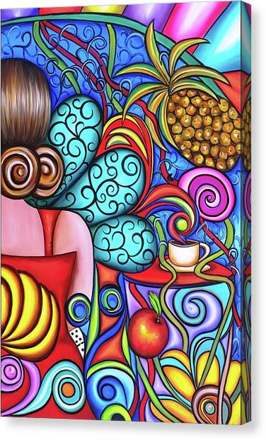 Tropical Stain Glass Canvas Print - On My Mind by Annie Maxwell