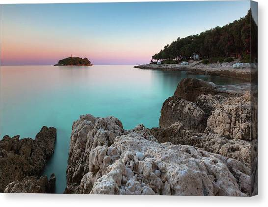 Canvas Print featuring the photograph On The Beach In Dawn by Davor Zerjav