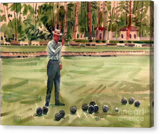 Bowling Ball Canvas Print - On The Bowling Green by Donald Maier