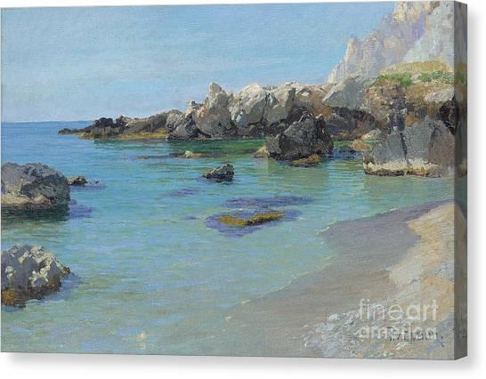 Calm Canvas Print - On The Capri Coast by Paul von Spaun