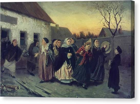 Bachelorette Canvas Print - On The Eve Of Bachelorette Party The Bride From The Bath 1870 by Perov Vasily