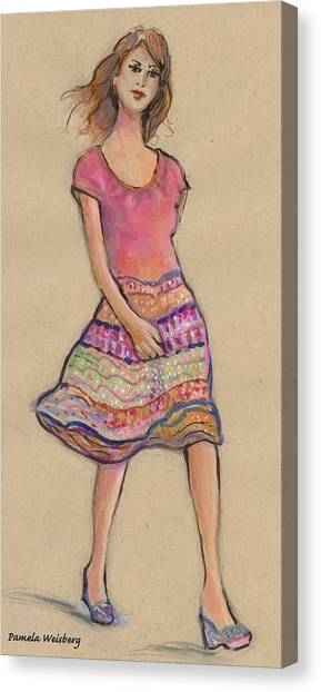 On The Go Fashion Illustration Canvas Print