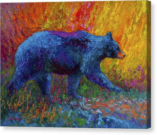Black Bears Canvas Print - On The Move by Marion Rose