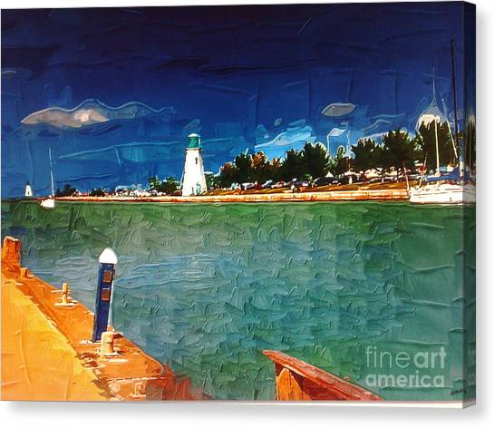 On The Pier At Port Canvas Print by Deborah Selib-Haig DMacq