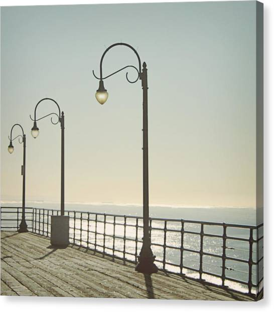 Santa Monica Canvas Print - On The Pier by Linda Woods