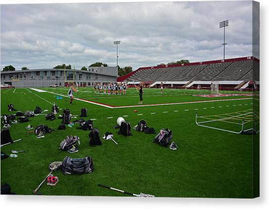 University Of Massachusetts Amherst Umass Amherst Canvas Print - On The Practice Field by Mike Martin