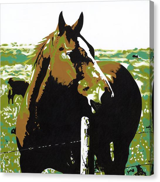 On The Range - Brown Canvas Print by Sonja Olson