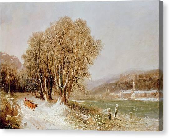 Snow Bank Canvas Print - On The River Neckar Near Heidelberg by Joseph Paul Pettit