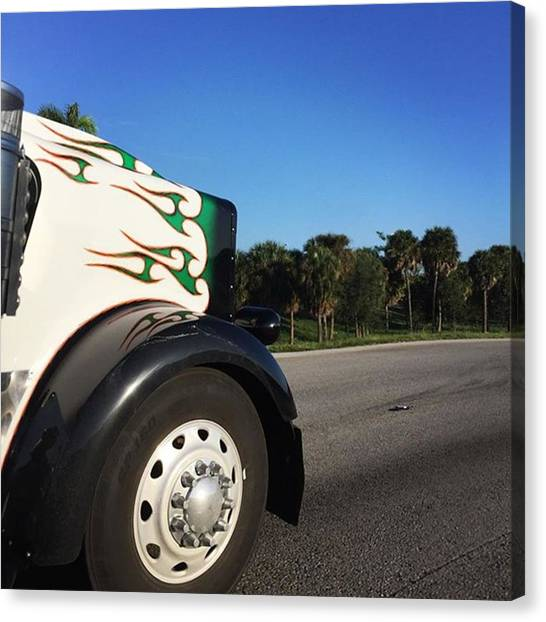 Trucks Canvas Print - On The Road Again On Turnpike by Juan Silva