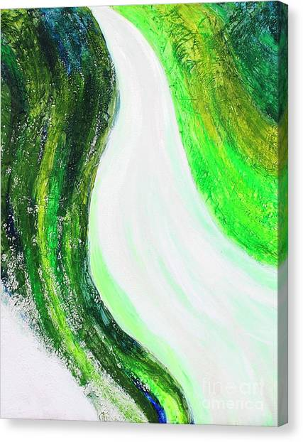 On The Road In Green Canvas Print