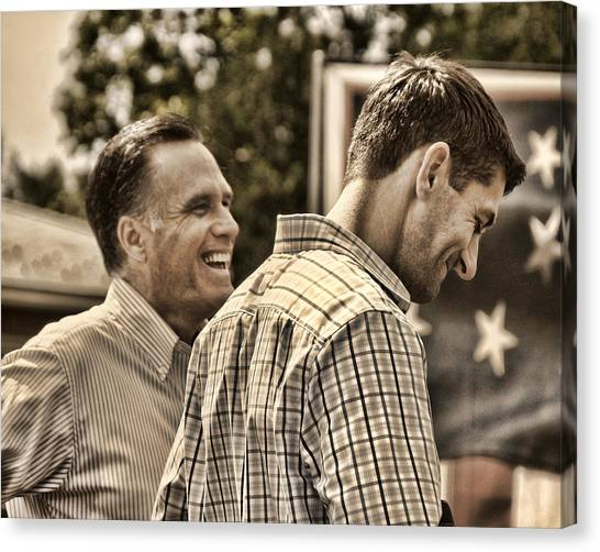 Republican Politicians Canvas Print - On The Road-mitt Romney by Joann Vitali