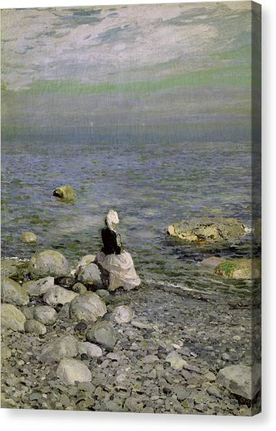 Shingles Canvas Print - On The Shore Of The Black Sea by Konstantin Alekseevich Korovin