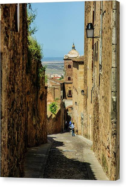 On The Streets Of Caceres Canvas Print