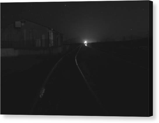 On The Tracks At Night Canvas Print