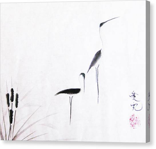 Brush Canvas Print - On Typha Pond by Oiyee At Oystudio