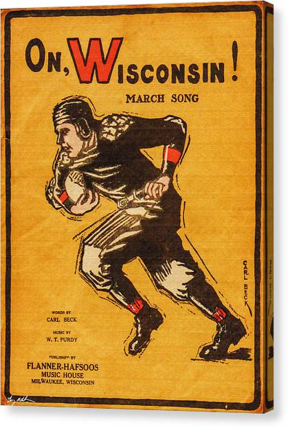 University Of Wisconsin - Madison Canvas Print - On Wisconsin Sheet Music Poster - Oil by Tommy Anderson