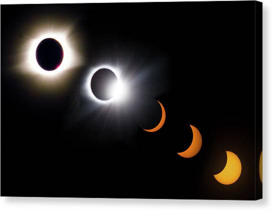 Stellar Canvas Print - Once In A Lifetime Stages Of A Total Solar Eclipse II by Debra and Dave Vanderlaan