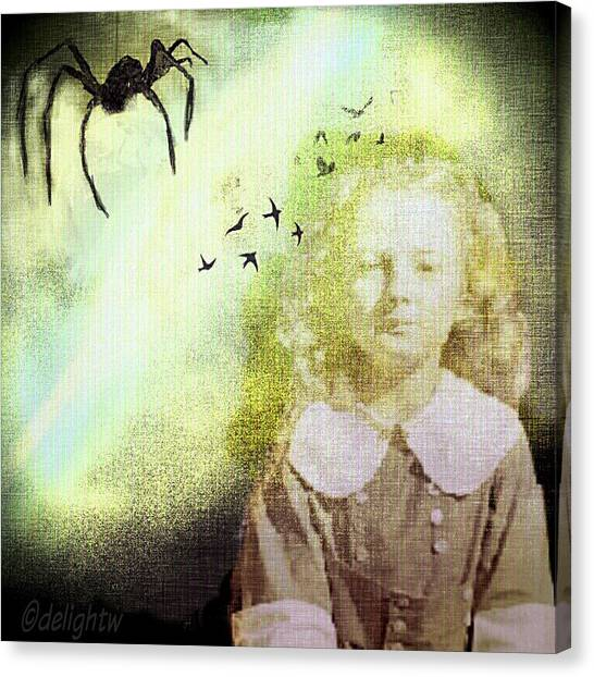 Canvas Print featuring the digital art Once There Was A Spider by Delight Worthyn