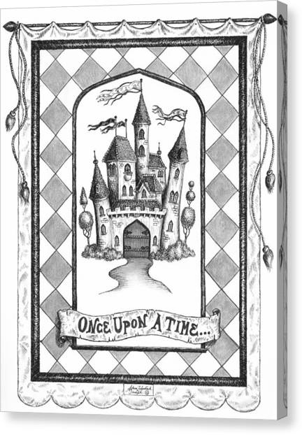 Pen And Ink Drawing Canvas Print - Once Upon A Time by Adam Zebediah Joseph