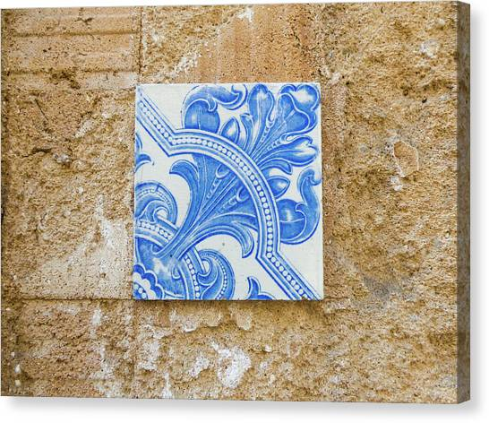 One Blue Vintage Tile  Canvas Print