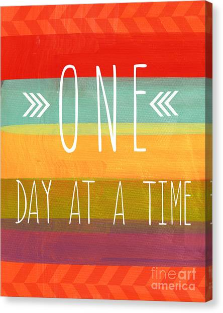 Gym Canvas Print - One Day At A Time by Linda Woods