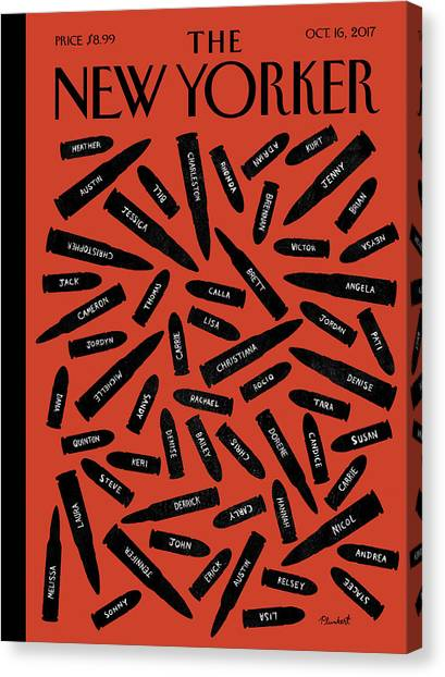 Gun Control Canvas Print - One Day In A Nation Of Guns by David Plunkert