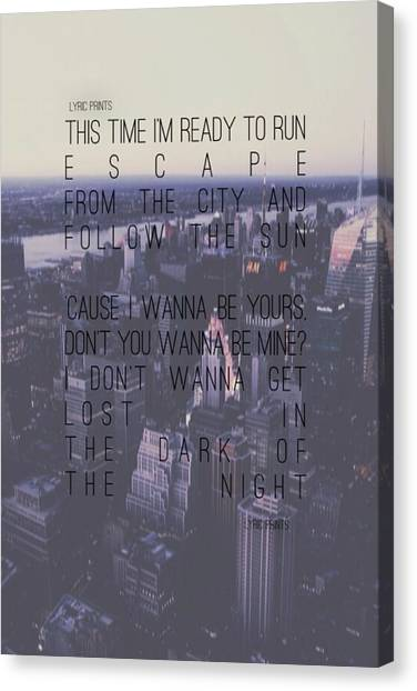 One Direction Canvas Print - One Direction Lyrics - Ready To Run by Alexis  Casey