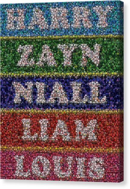 One Direction Canvas Print - One Direction Names Bottle Cap Mosaic by Paul Van Scott