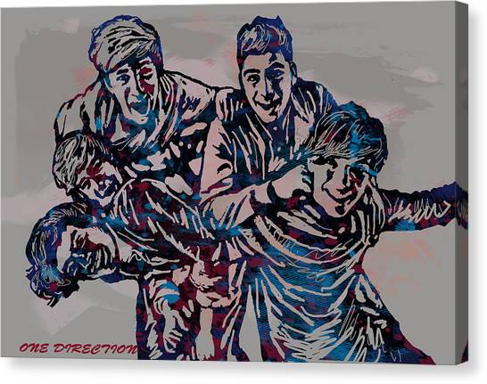 One Direction Canvas Print - One Direction Pop Stylised Art Poster by Kim Wang