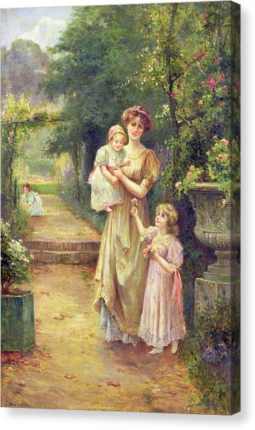 Victorian Garden Canvas Print - One For Baby by Ernest Walbourn