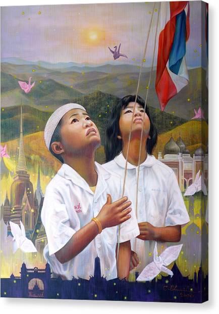 One Heart Of Thailand Canvas Print by Chonkhet Phanwichien