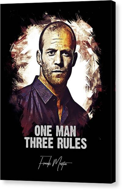 Hollywood Canvas Print - One Man Three Rules - Transporter by Dusan Naumovski
