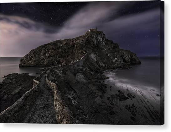 House Canvas Print - One Night In Gaztelugatxe by Fran Osuna