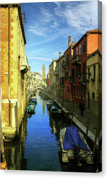 one of the many Venetian canals on a Sunny summer day Canvas Print