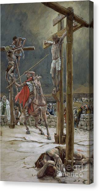 Crucify Canvas Print - One Of The Soldiers With A Spear Pierced His Side by Tissot