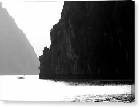 Limestone Caves Canvas Print - One On One Ha Long Bay Vietnam by Chuck Kuhn